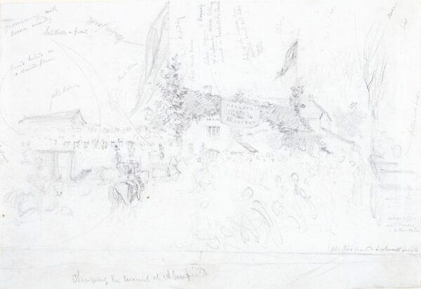 LANDELLS Ebenezer (1808-1860) - 'Changing the Escort at Abourfield (sic Arborfield)', Berkshire.
