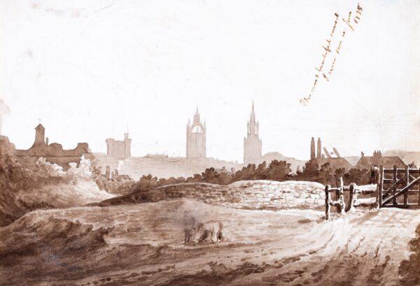 LANDELLS Ebenezer (1808-1860) - Edinburgh; 'The most beautiful sunset / I ever saw in June, 1825'.