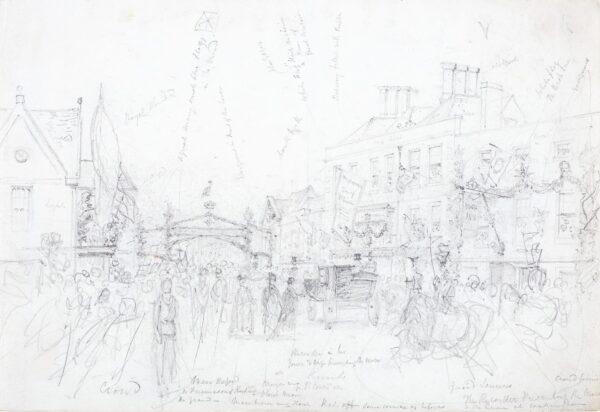 LANDELLS Ebenezer (1808-1860) - 'The Recorder presenting the Mace to the Queen at Wokingham', Berkshire.