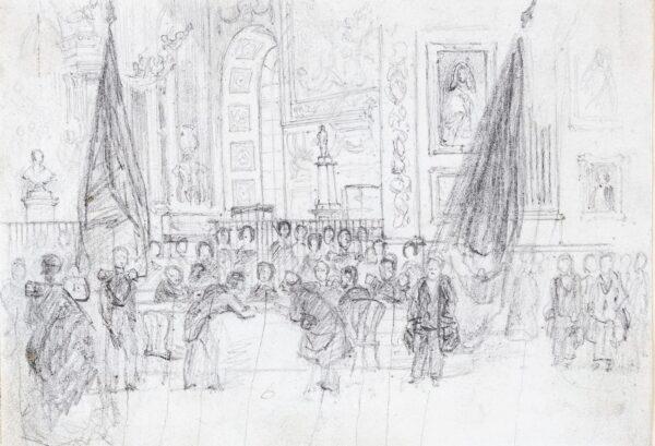 LANDELLS Ebenezer (1808-1860) - Dignitaries attending (?)Queen Victoria, possibly at Versailles on her 1855 trip.