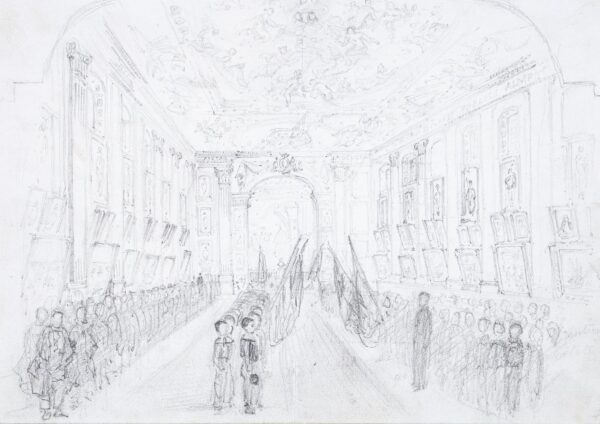 LANDELLS Ebenezer (1808-1860) - Schoolboys parading in the Painted Hall, Greenwich.