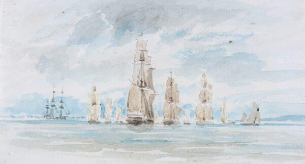 LANDELLS Ebenezer (1808-1860) - Shipping off-shore.