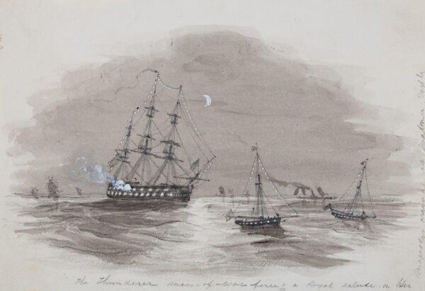 LANDELLS Ebenezer (1808-1860) - 'The Thunderer, Man-of-War firing a Royal Salute on her Majesties arrival at Walmer Castle'.