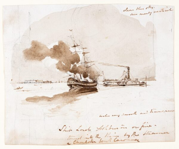 LANDELLS Ebenezer (1808-1860) - 'Ship Lord Ashbourne (?Ashburton) on fire / towed into the River by the Steamer / Charleston South Carolina' 'Clear blue sky / sun nearly vertical'.