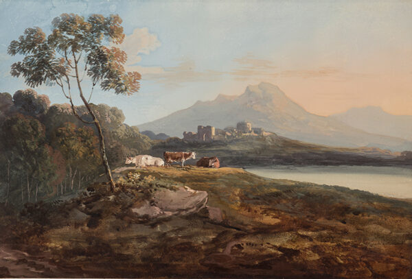 LAPORTE John (1761-1839) (Attributed to) - Cattle and distant Castle.