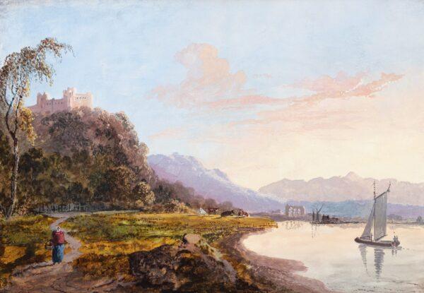 LAPORTE John (1761-1839) - Capriccio: Castle and lake.