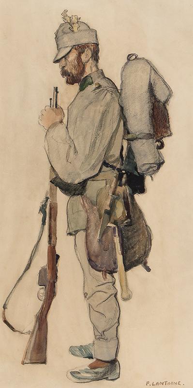 LANTOINE Fernand (1876-c.1958) - An Austro-Hungarian soldier, possibly a Tiroler Jaeger.