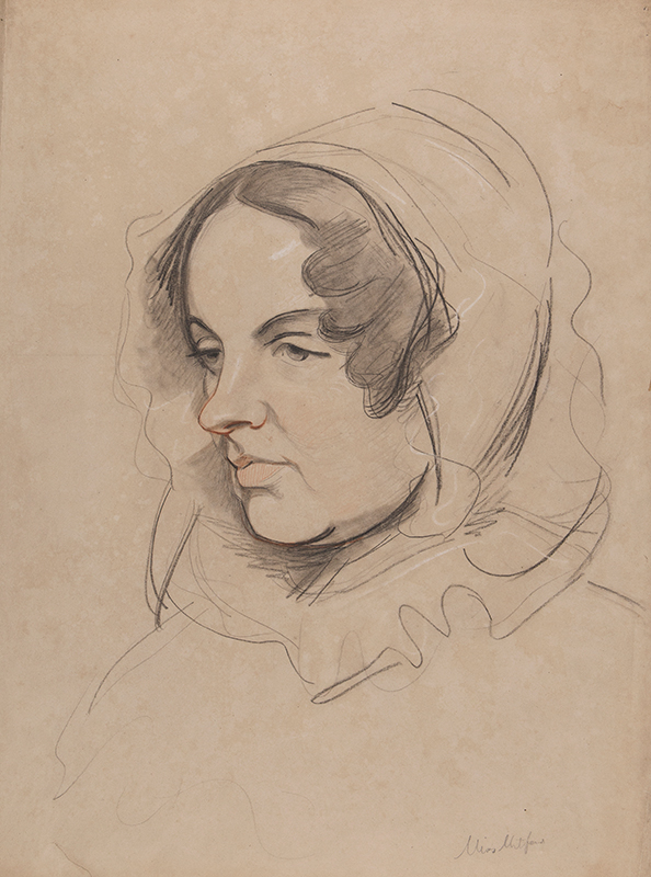 LAURENCE Samuel (1812-1884) - 'Miss Mitford', the authoress Mary Russell Mitford (1787-1855) Red, black and white chalks on tan paper.