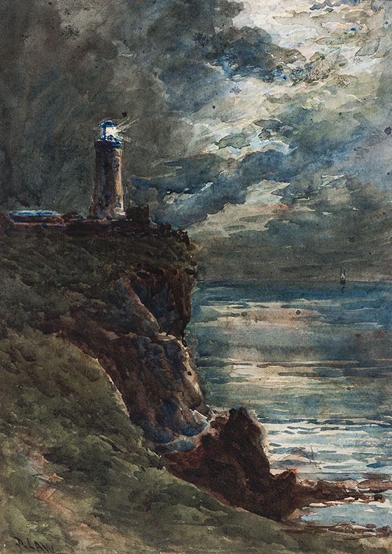 LAW David (1831-1901) - Lighthouse and moonlight.