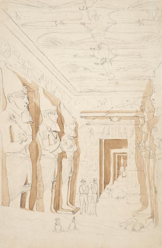 LE STRANGE Henry L'Estrange Styleman (1815-1862) - Egypt: 'Interior of the rock hewn Temple at Abu Simbel, Nubia'.