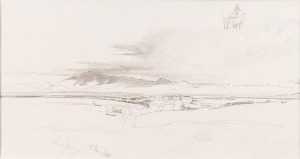 LEAR Edward (1812-1888) - Landscape near Tivoli, possibly Val Montone.