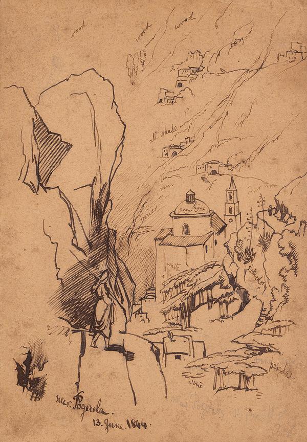 LEAR Edward (1812-1888) - 'Near Pogerola', above Amalfi.