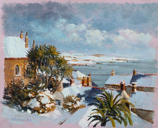 LEE Sidney (late 20th century) - 'Marazion under Snow' – view from the artist's studio.