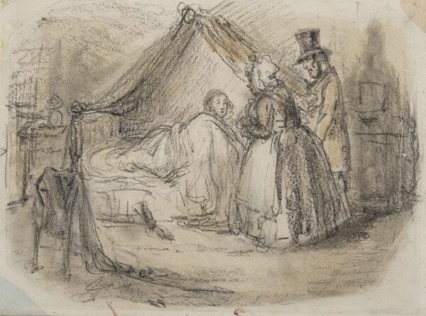 LEECH John (1817-1864) - Awoken! Pencil and watercolour.
