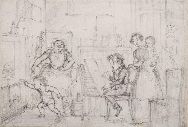LEECH John (1817-1864) - Holding a heroic pose in the Nursery.