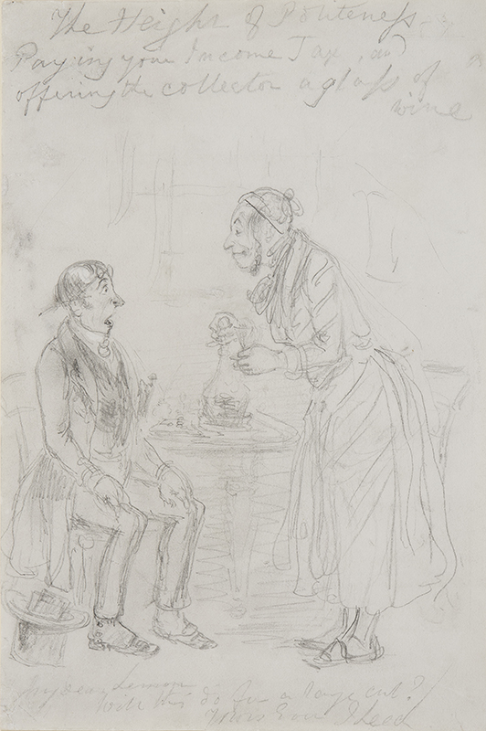 LEECH John (1817-1864) - 'The Height of Politeness / Paying your Income Tax, and / opening the Collector a glass of / wine'.