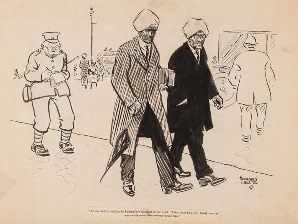 LEETE Alfred (1882-1933) - Schmidt the Spy: 'All the Indian soldiers in London are wounded in the head…' Crayon, pen and ink for 'London Opinion'.