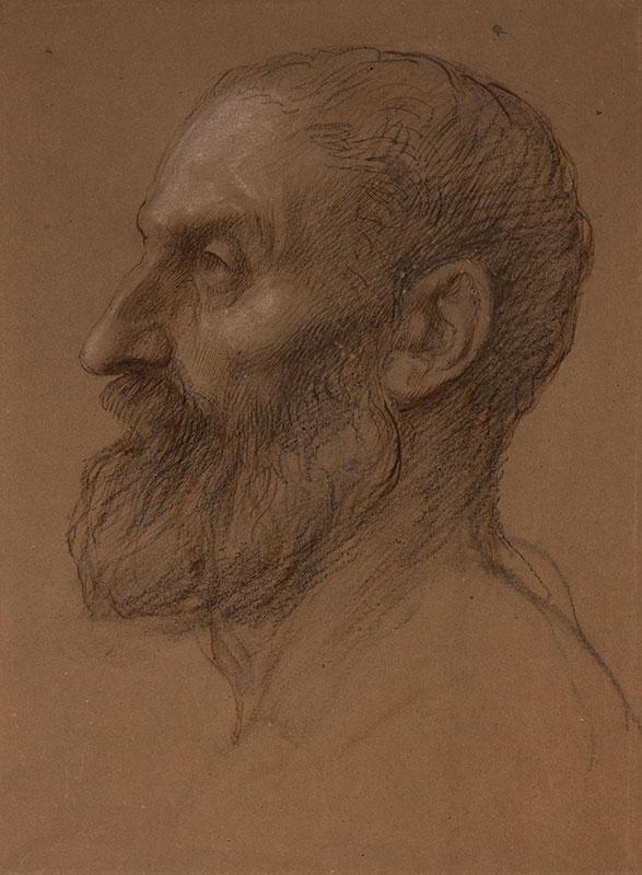 LEGROS Alphonse (1837-1911) - 'Etude de tete d'un homme'.