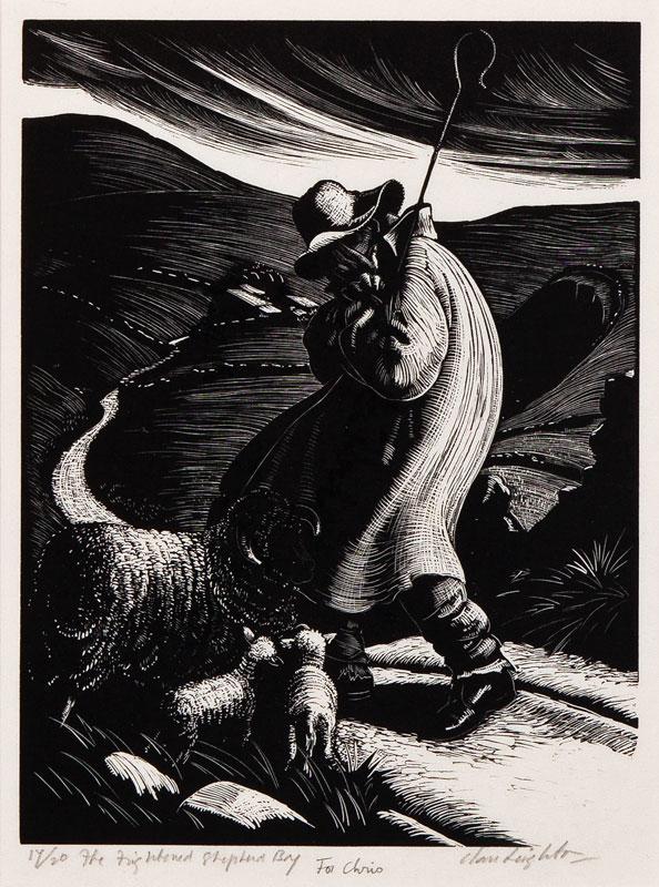 LEIGHTON Clare (1898-1989) - 'The frightened shepherd boy'.