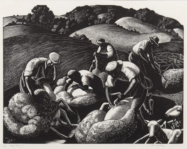 LEIGHTON Clare (1898-1989) - 'Sheep Shearing' ('May, Sheep Shearing').