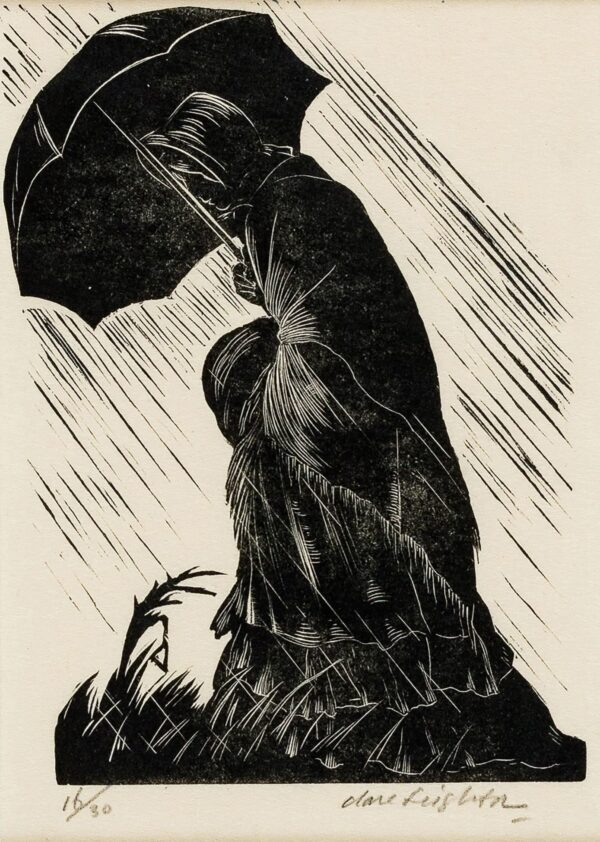 LEIGHTON Clare S.W.E. R.E. (1898-1989) - Woman under umbrella.