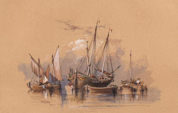 LEITCH William Leighton R.I. (1804-1883) - 'Venice'; a cluster of boats.