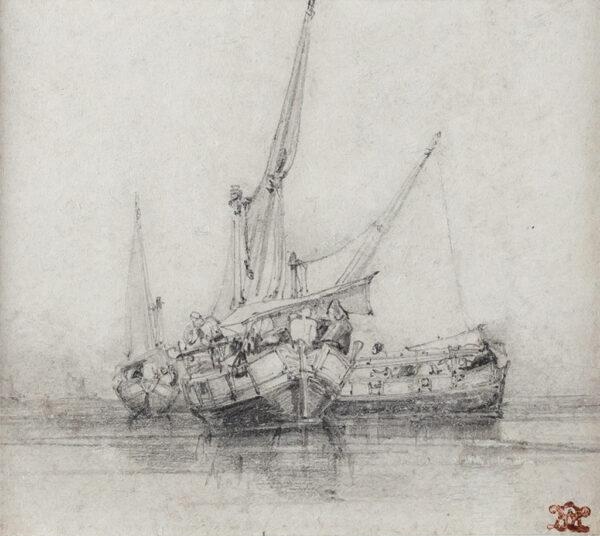 LEITCH William Leighton (1804-1883) - Boats off the coast, Naples.