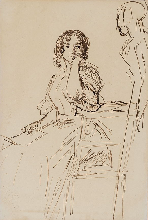 LESLIE Charles Robert R.A. (1794-1859) - Girl surprised while reading a letter Pen and ink study, possible for a composition.