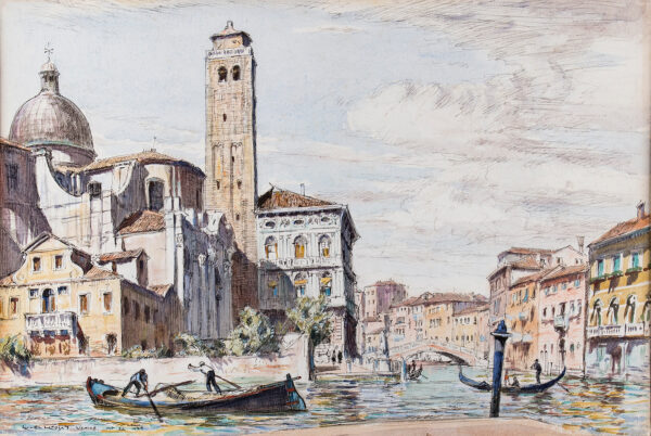 LINDSAY Sir Lionel (1874-1961) - San Geremia and the Palazzo Labia on the corner of the Grand and the Cannaregio canals, Venice.