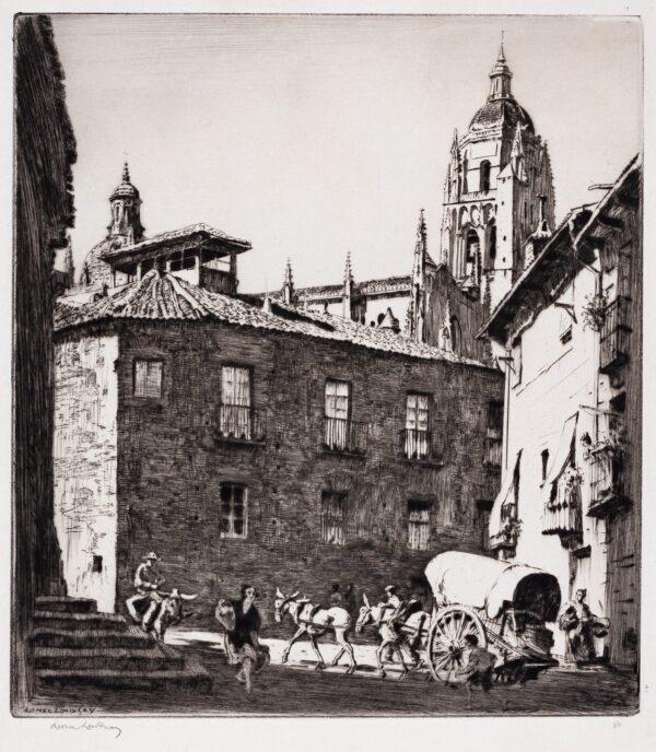 LINDSAY Sir Lionel (1878-1961) - 'Little Square, Segovia'.