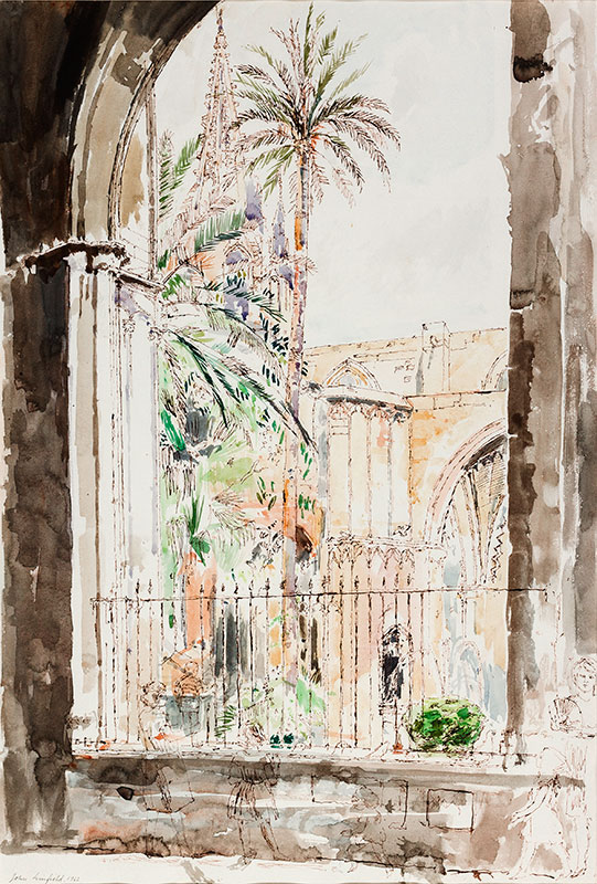 LINFIELD John N.E.A.C. (b.1930) - Barcelona; the Cathedral courtyard.