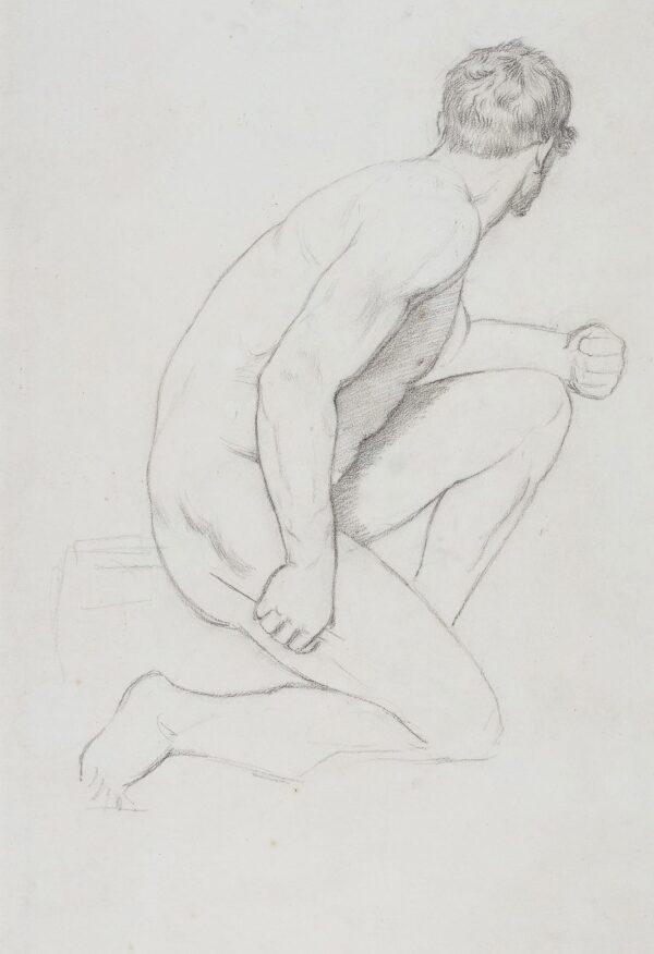 LINNELL William (1826-1906) or James (1820-1905) - Kneeling Life Model.