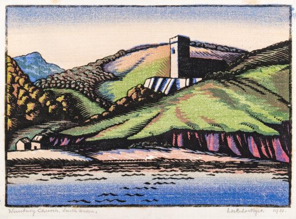 LOCKYER Isabel de Bohun (Exh: 1925-1938) - 'Wembury Church, South Devon'.