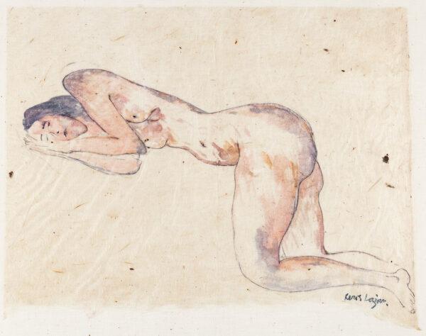 LOIZOU Renos (b.1948) 'Sleeping Nude IV'. - Watercolour on Japanese paper laid on silk.