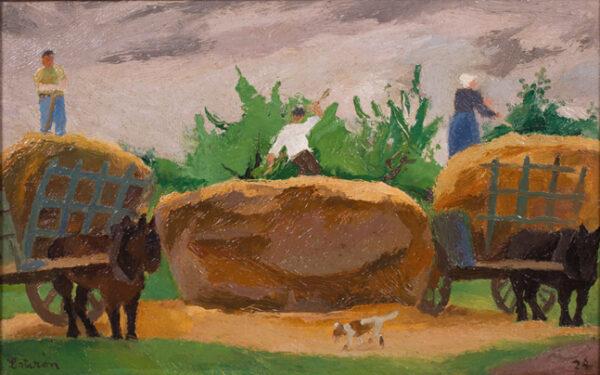 LOTIRON Robert (1886-1966) - 'Les charettes de pailles'.