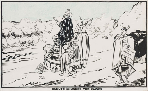 LOW Sir David (1891-1963) - 'Canute shushes the waves'; Inflation threatening a nervous Sir John Simon Lord (Chancellor of the Exchequer 1937-1940), Lord Stamp and his Economic Advisory Council (1930-1939) while Maynard Keynes stands by with alternative plans.