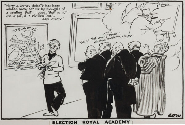 LOW Sir David (1891-1963) - 'Election, Royal Academy': Eden at his first public function following his succession to Churchill Pen, brush and ink for the Manchester Guardian, 29th April 1955.