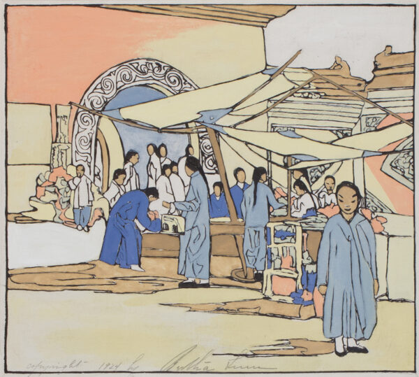 LUM (check) Bertha Boynton (1869-1954) - 'Lung Fo Sou, a Chinese curio market'.