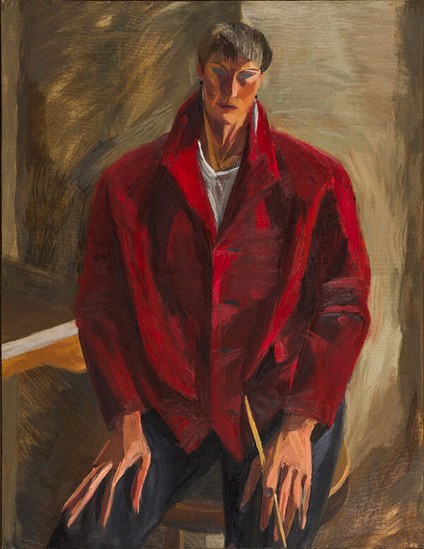 MABBUTT Mary (b.1951) - 'Self-portrait in Red Jacket, May 1987'.