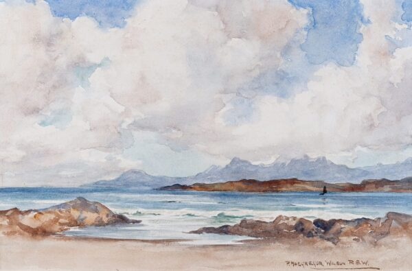 MACGREGOR WILSON Peter R.S.W. (1856-1928) - 'Skye from Arisaig – the mist on the hill'.