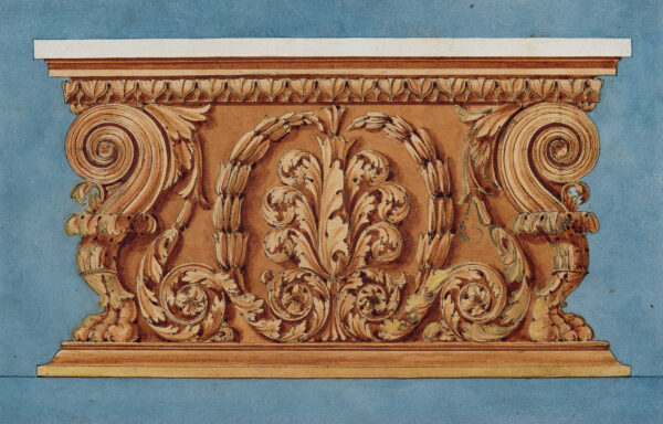 MADDOX George (1760-1843) - 'Elevation showing the end of a magnificent gilded table with white marble top'.