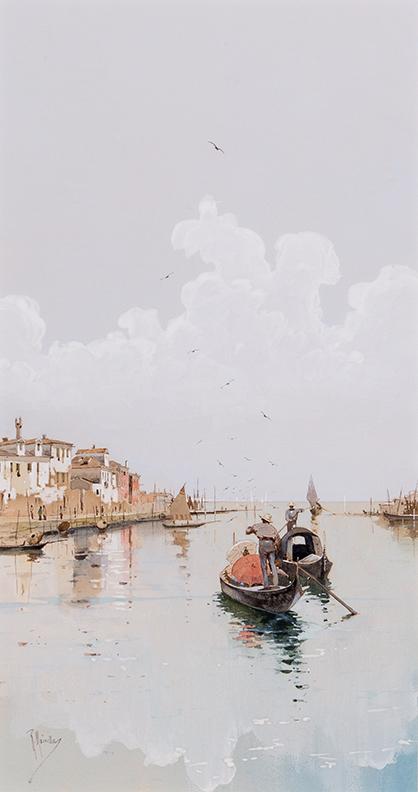 MAINELLA Raffaele (1856-1941) - Venice; on the edge of the lagoon.