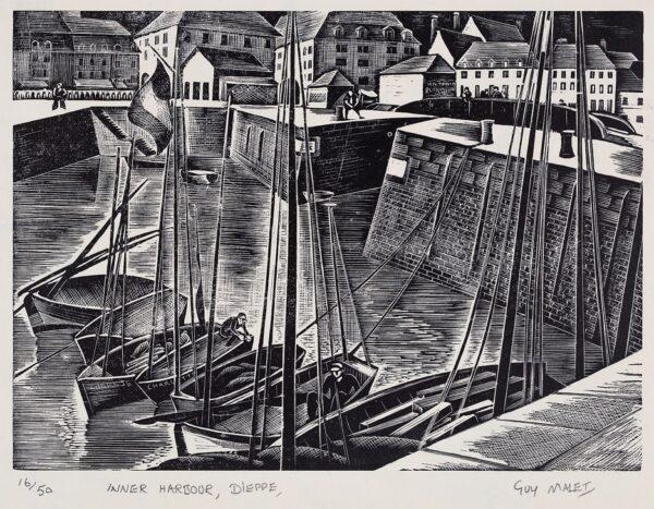 MALET Guy Seymour Warre (1900-1973) - 'Inner Harbour, Dieppe'.