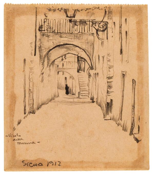 MARCHIG Giannino (1897-1983) - 'Siena / Vicolo della Manna'; a street in the Ghetto Pencil sketchbook page.