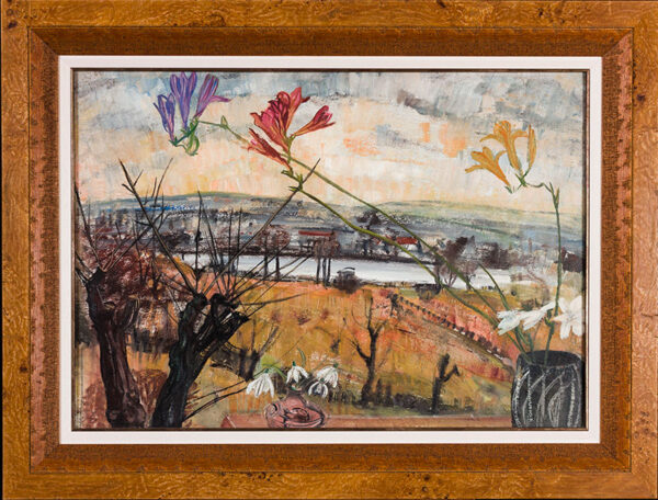 MARKS Grete Heymann Loebenstein (1899-1990) - 'Snowdrops and freesias; South Norwood Lake', from the artist's house.