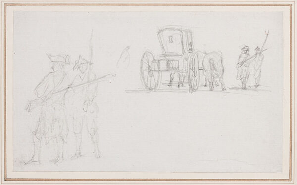 MARLOW William (1740-1813) - Studies of French soldiers and a horse and carriage.