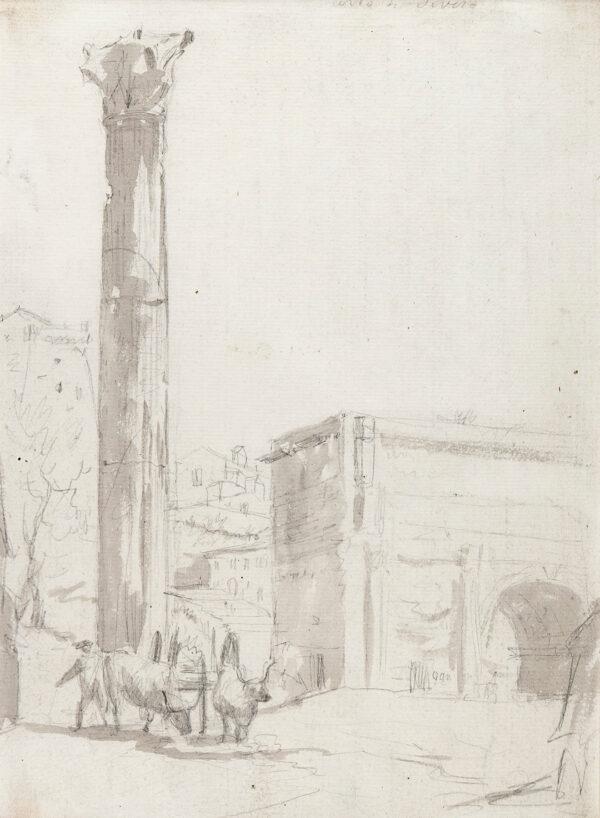 MARLOW William (1740-1813) - 'Arco di Severo', Rome Pencil brush and wash.