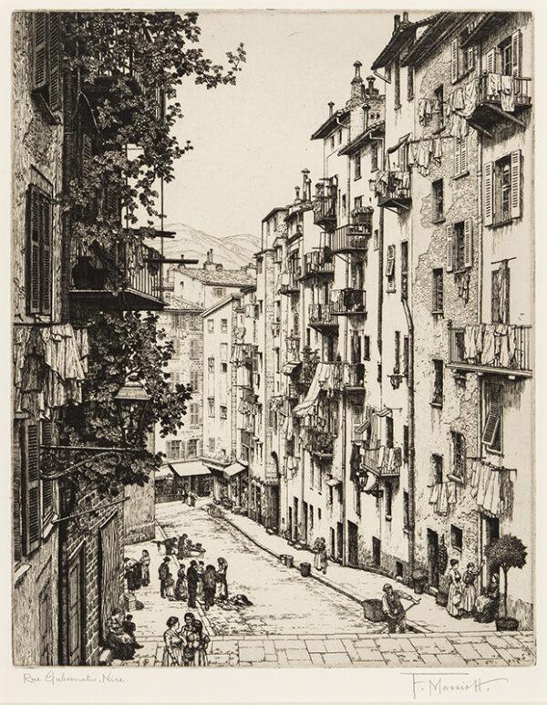 MARRIOTT Frederick R.E. (1860-1941) - 'Rue Gubernatis, Nice'.