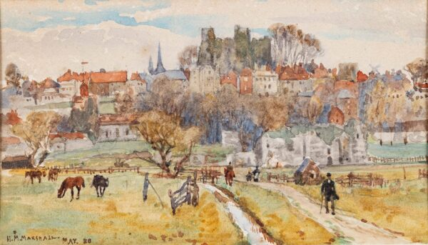 MARSHALL Herbert Menzies V.P.R.W.S. R.E. (1841-1913) - View of Lewes, Sussex.