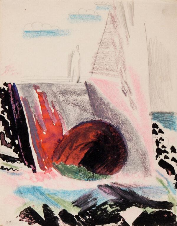 MARX Enid R.D.I. (1902-1998) - Figure on a shore, possible a set design.